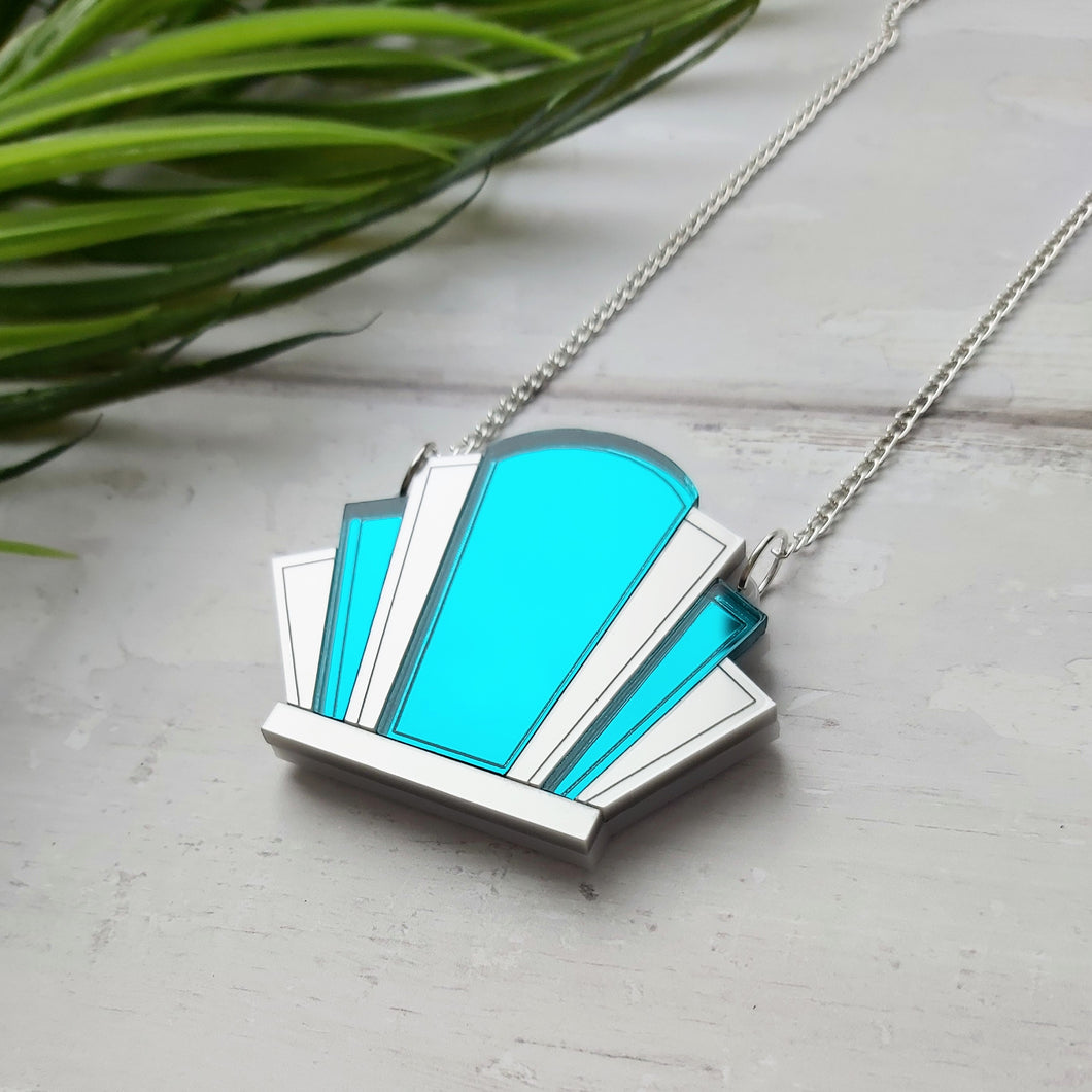 PRE-ORDER Art deco fan mirror necklace