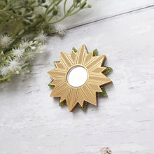 Load image into Gallery viewer, PRE-ORDER Gold and green sunburst brooch