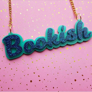BOOKISH acrylic word necklace