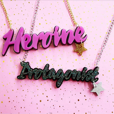 HEROINE or PROTAGONIST acrylic word necklace