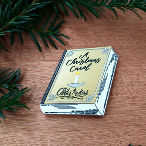 A CHRISTMAS CAROL Charles Dickens metallic gold engraved acrylic book brooch