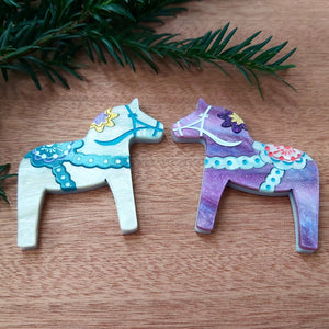 DALA HORSE acrylic Christmas brooch - 'Starry Night' colourways - galaxy purple or starry white