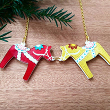 Load image into Gallery viewer, DALA HORSE NECKLACE  - red and gold or  purple and white