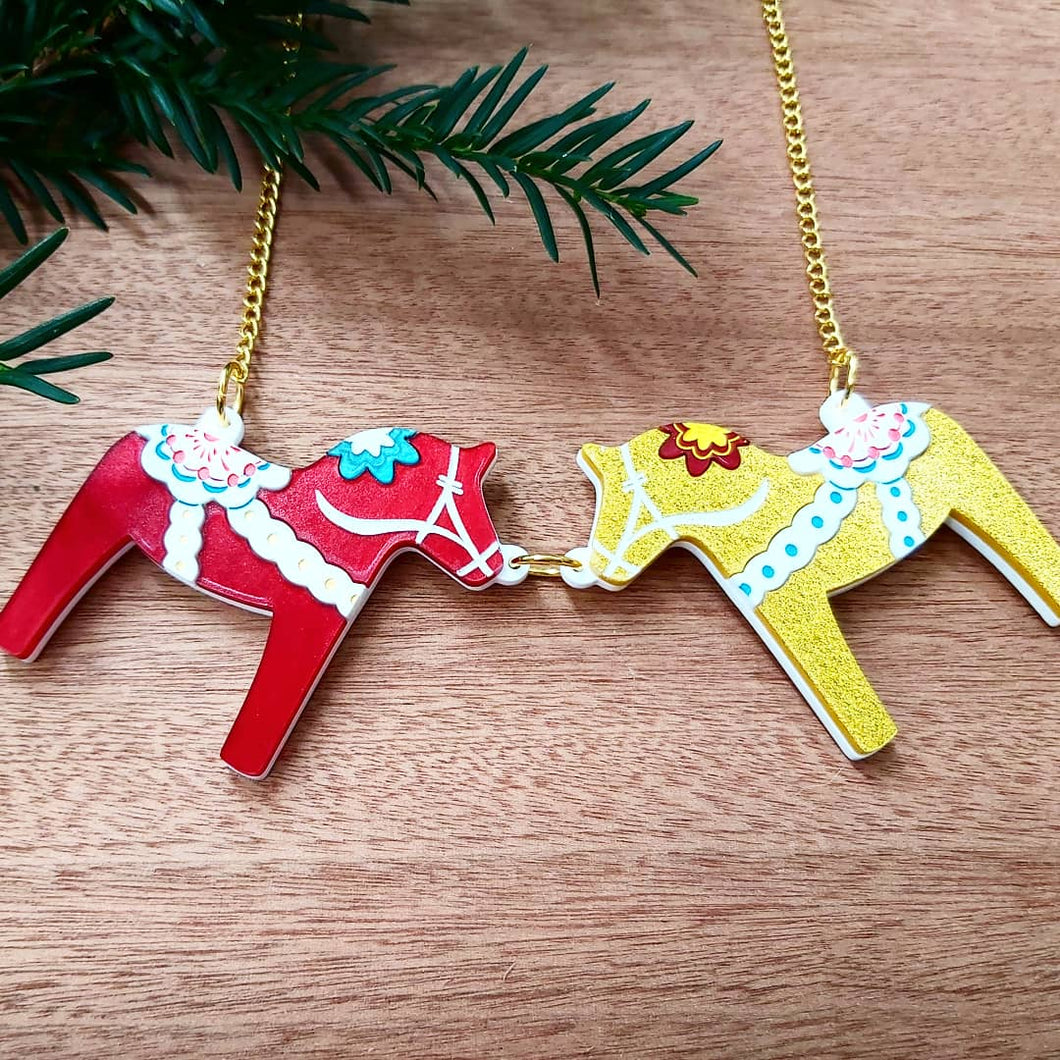 DALA HORSE NECKLACE  - red and gold or  purple and white