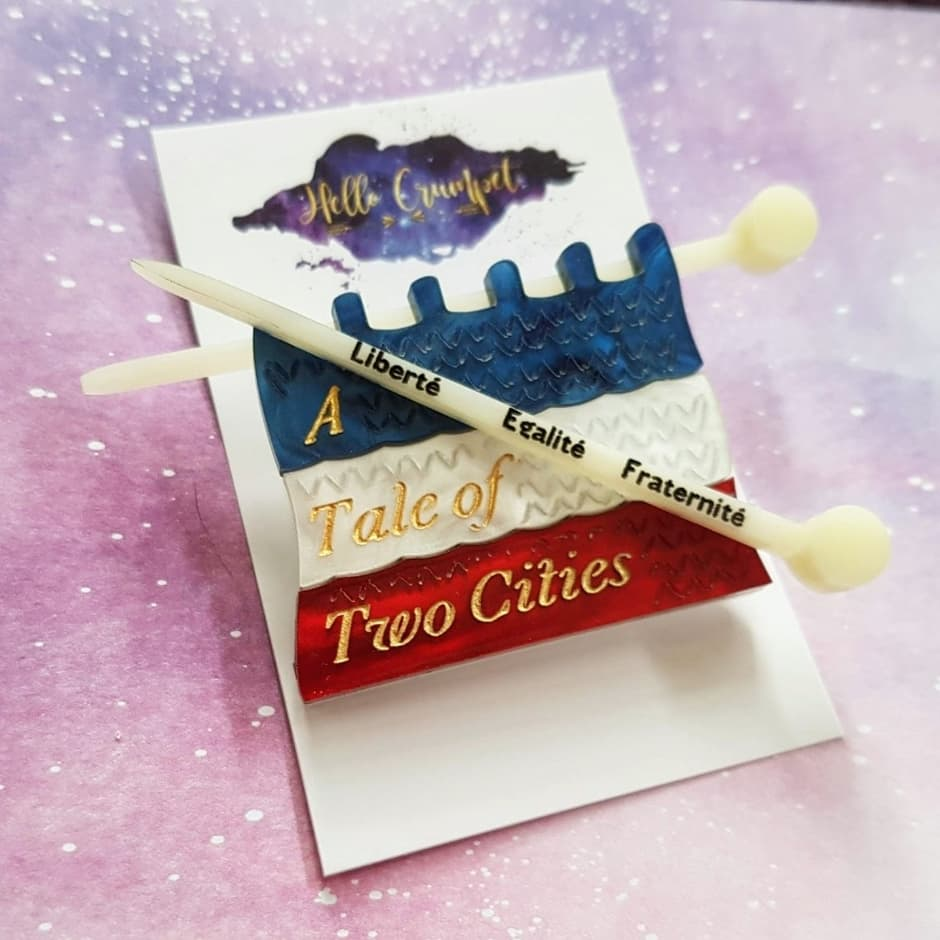 A Tale of Two Cities knitting flag brooch