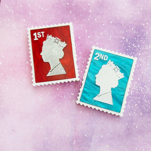British postage stamp acrylic brooch