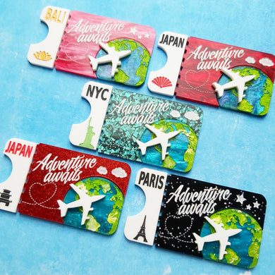 Favourite destinations ticket brooches