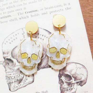 PRE ORDER Skull gold and marble white Halloween earrings