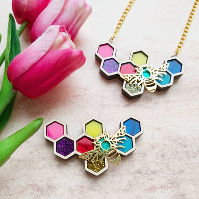 PRE ORDER Rainbow Honeycomb Bee brooch or necklace