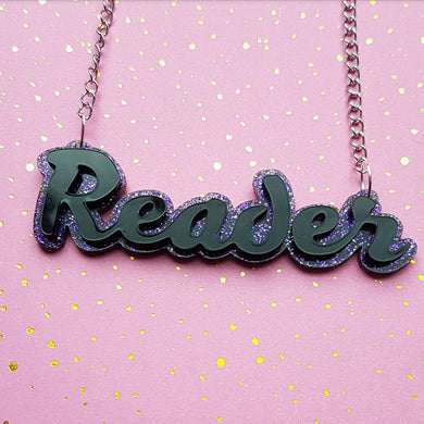 READER acrylic word necklace