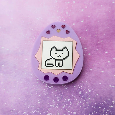 MEOWGLI tamagotchi kitty cat inspired acrylic lasercut brooch