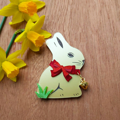 Easter Bell bunny brooch - RED, BROWN, GREEN or WHITE