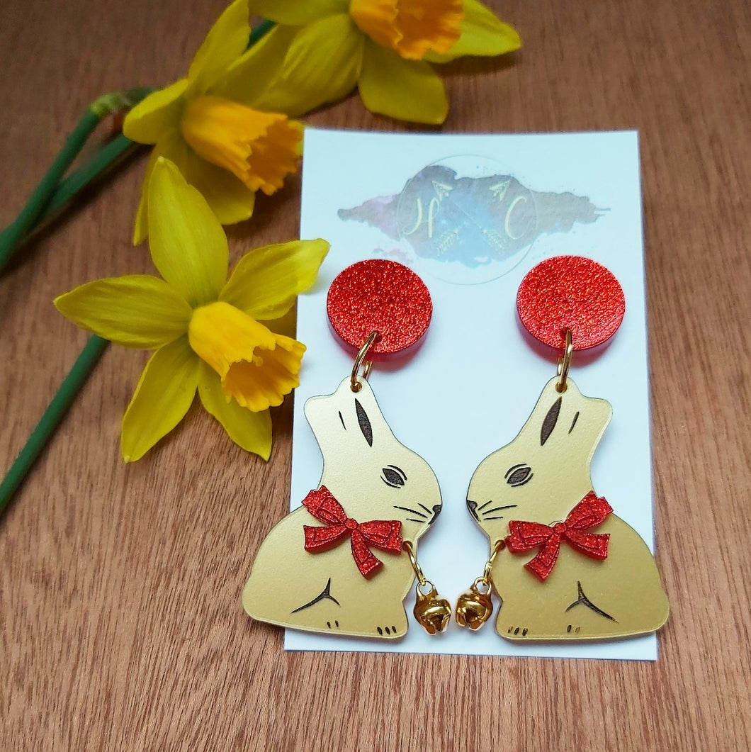 Easter bell bunny earrings - RED