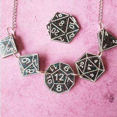 DUNGEONS AND DRAGONS dark sparkle and white inspired acrylic necklace kr brooch