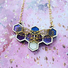 Load image into Gallery viewer, Honeycomb Night Owl necklace