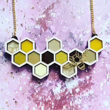 Load image into Gallery viewer, Statement Honeycomb Bee necklace