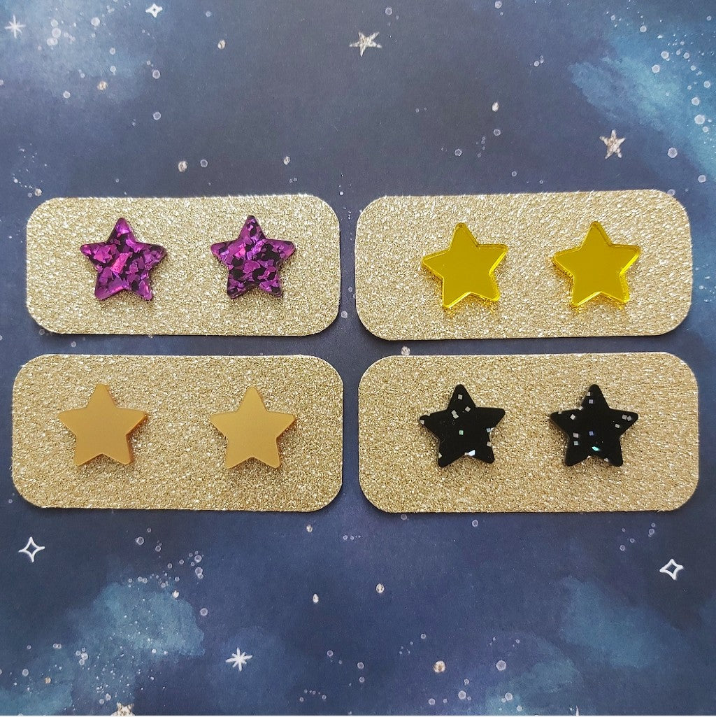 Zero Waste Star Studs - Brights