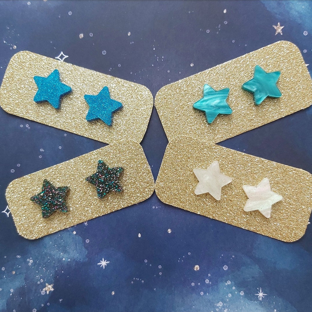 Zero Waste Star Studs - Blues