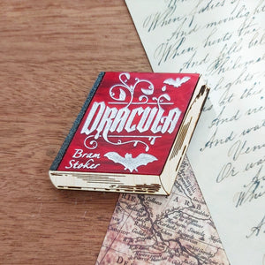 Dracula book brooch - blood red and natural wood