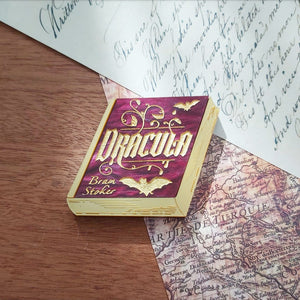 Dracula book brooch - wine and gold
