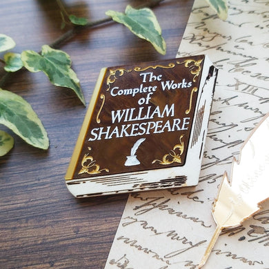 PRE ORDER Complete Works of William Shakespeare book brooch