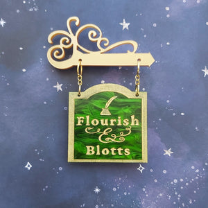 FLOURISH AND BLOTTS swinging shop sign brooch