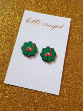 Load image into Gallery viewer, FLAMINGO-GO-GO - Green flamingo print wood stud earrings