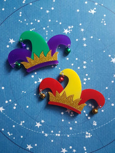 PITY THE FOOL Shakespeare jester's hat acrylic brooch