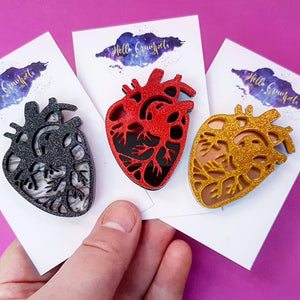 ANATOMICAL HEART Glitter acrylic heart brooch - MULTIPLE OPTIONS AVAILABLE