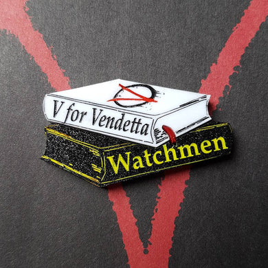 V for vendetta and Watchmen comic book inspired acrylic book stack brooch