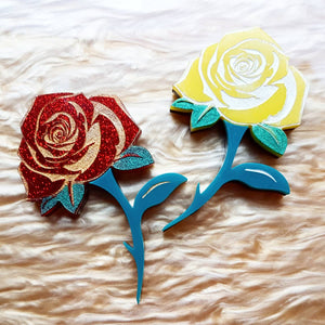 ROSE acrylic and handpainted brooch - MULTIPLE OPTIONS AVAILABLE