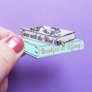 Gone With the Wind and Breakfast at Tiffany's inspired acrylic book brooch