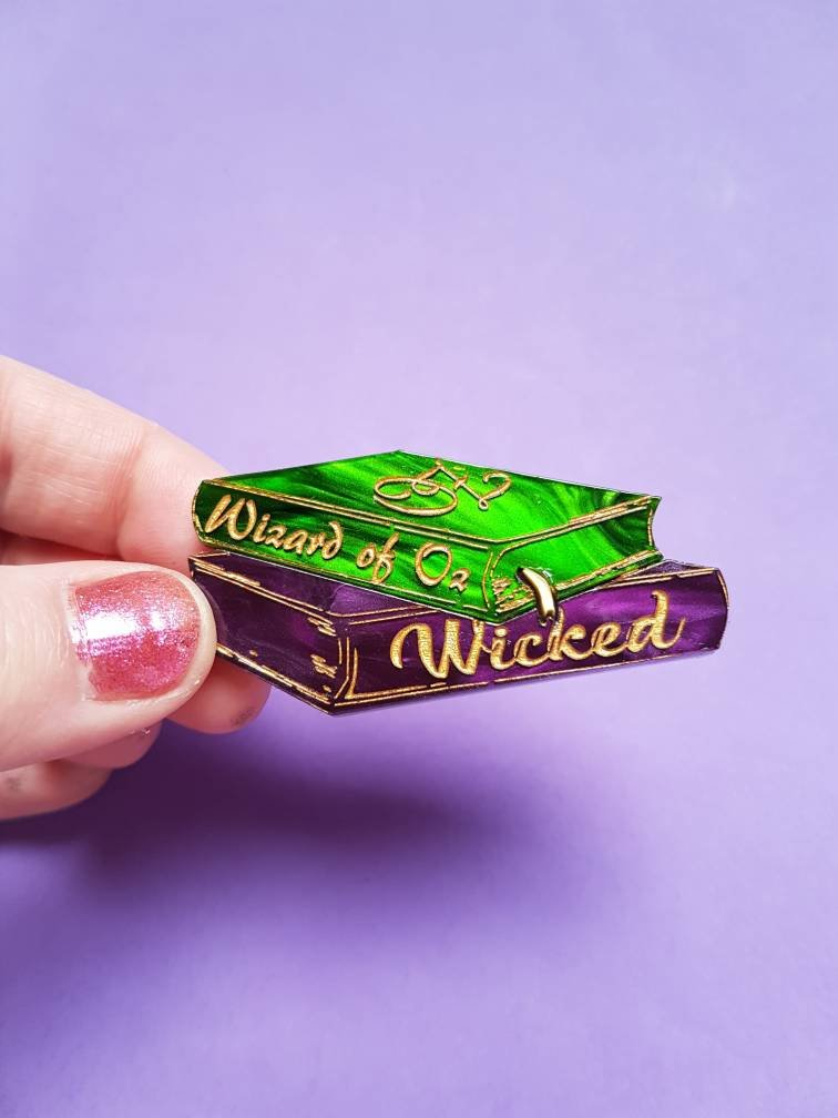 Wizard of Oz and Wicked inspired acrylic book stack brooch