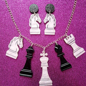CHECKMATE Chess inspired acrylic necklace or earrings - MULTIPLE OPTIONS AVAILABLE
