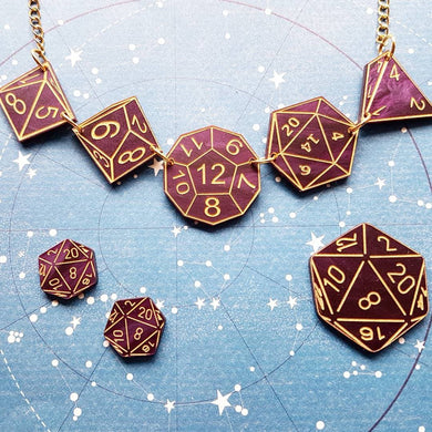 DUNGEONS AND DRAGONS inspired acrylic necklace brooch or earrings, d12 d20 dice - MULTIPLE OPTIONS AVAILABLE