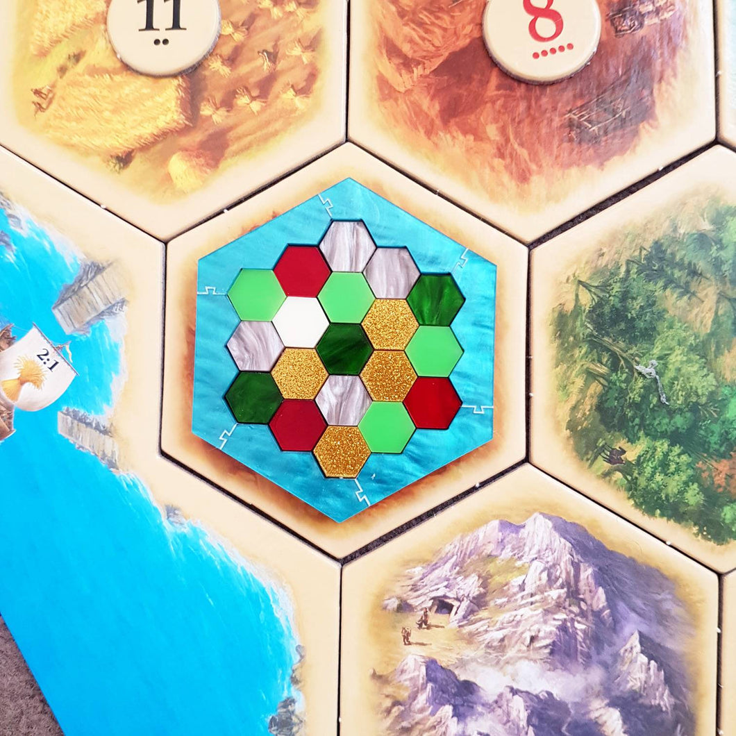 Catan inspired geometric lasercut acrylic brooch