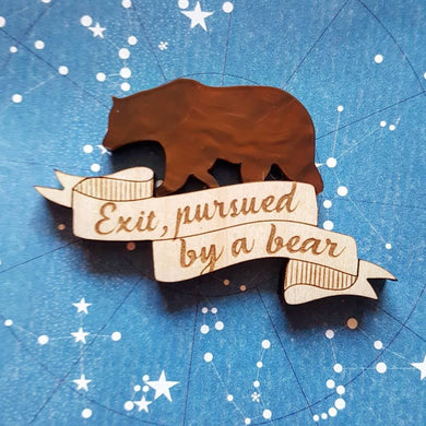 'Exit, pursued by a bear' - Shakespeare A Winters Tale inspired brooch