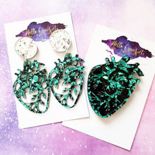 Load image into Gallery viewer, POISON GREEN anatomical heart confetti glitter Halloween brooch or earrings - MULTIPLE OPTIONS AVAILABLE