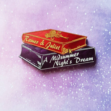 Romeo and Juliet, A Midsummer Nights Dream Shakespeare book stack brooch