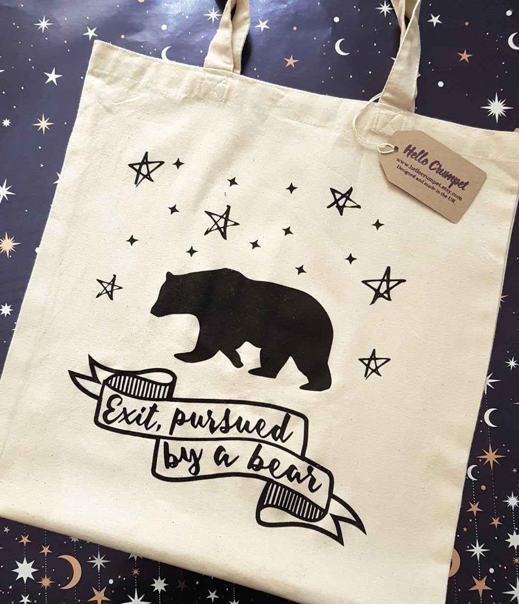 Shakespeare A Winter's Tale Exit Pursued By A Bear cotton tote book bag