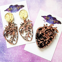 Load image into Gallery viewer, ROSE GOLD anatomical heart glitter acrylic heart Halloween brooch or earrings - MULTIPLE OPTIONS AVAILABLE