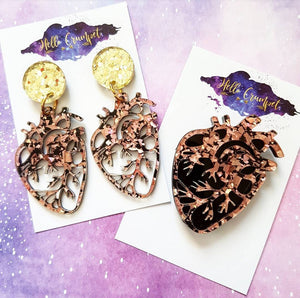 ROSE GOLD anatomical heart glitter acrylic heart Halloween brooch or earrings - MULTIPLE OPTIONS AVAILABLE