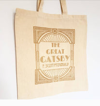 Load image into Gallery viewer, F Scott Fitzgerald The Great Gatsby bookish cotton tote book bag