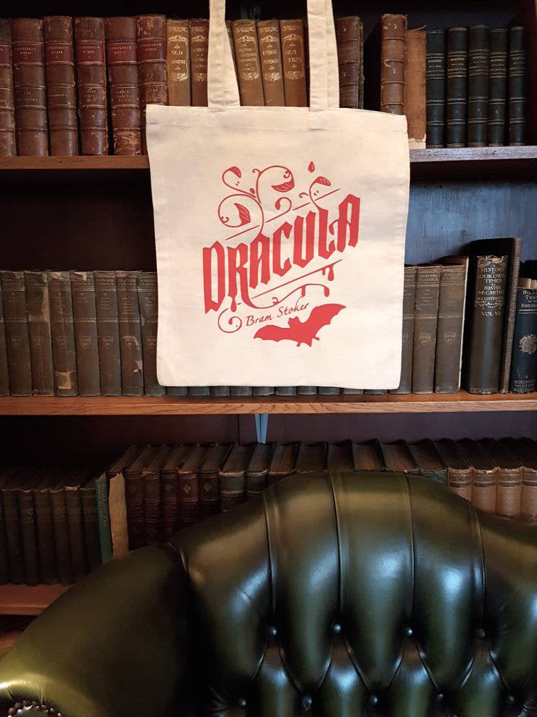 Bram Stoker Dracula bookish cotton tote  book bag