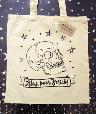 Shakespeare Hamlet Skull Alas Poor Yorick cotton tote book bag