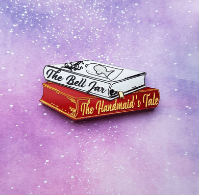 The Bell Jar and The Handmaid's Tale bookstack acrylic feminist brooch