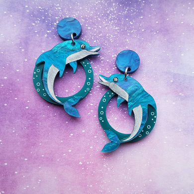 DOLPHIN acrylic and handpainted Hitchhiker's Guide to the Galaxy inspired dangle earrings
