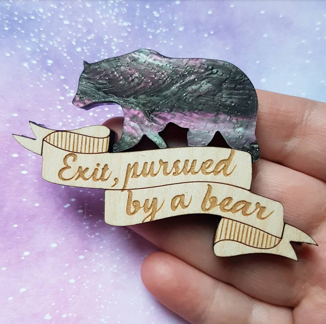 Limited galaxy colourway - Exit pursued by a bear - Shakespeare A Winters Tale inspired brooch
