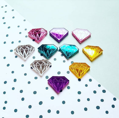 SHINE BRIGHT - mirror acrylic diamond engraved stud earrings - MULTIPLE OPTIONS AVAILABLE
