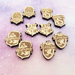 House crest wooden lasercut engraved stud earrings - MULTIPLE OPTIONS